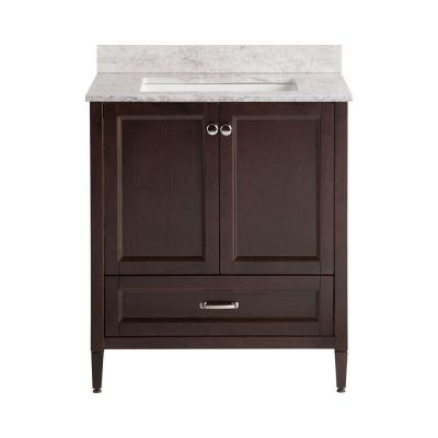Claxby 31 in. W x 38 in. H x 22 in. D Bathroom Vanity in Chocolate with Stone Effects Vanity Top in Winter Mist
