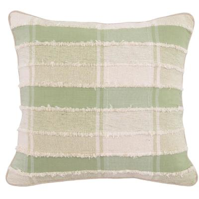 Elena Tea / Ivory 20 in. x 20 in. Square Plaid Woven Cotton Decorative Pillow