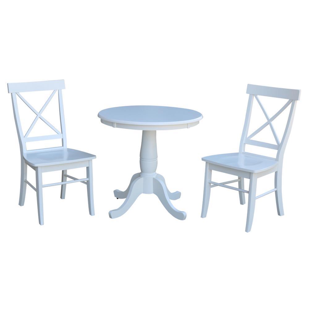 Hampton 3-Piece White Solid Wood Dining Set