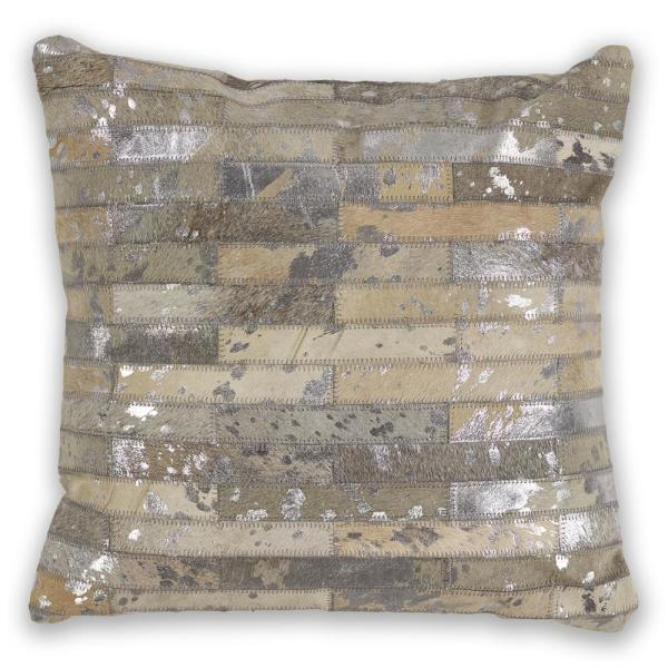 Foil Elements Grey Geometric Hypoallergenic Polyester 18 in. x 18 in. Throw Pillow