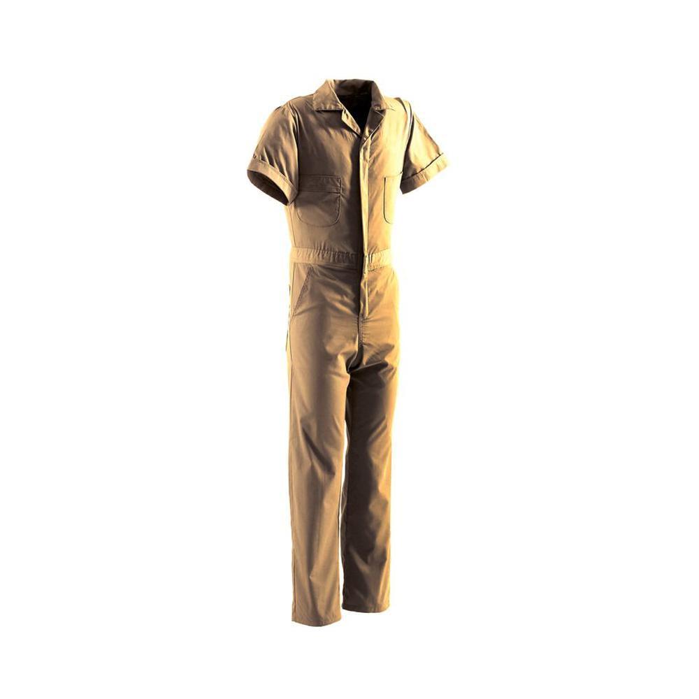 Men's Medium Short Tan Polyester and Cotton Poplin Blend Poplin Short Sleeve Coverall