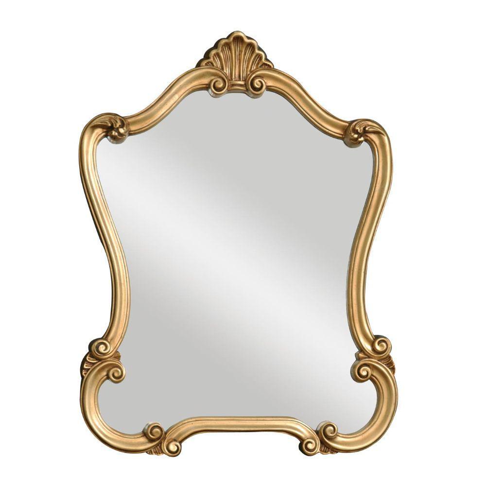 Medium Arch Gold Modern Mirror (35 in. H x 26 in. W)