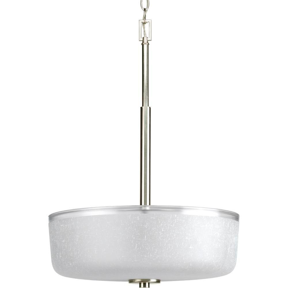 Progress Lighting Alexa Collection 3-Light Brushed Nickel Foyer Pendant with White Linen Glass