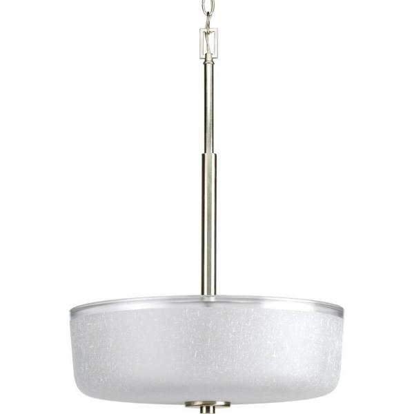 Alexa Collection 3-Light Brushed Nickel Foyer Pendant with White Linen Glass