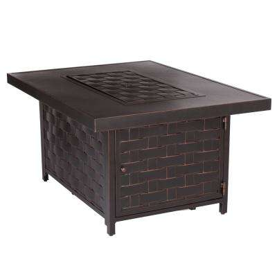 Armstrong 48 in. x 24 in. Rectangle Aluminum LPG Fire Pit Table in Antique Bronze