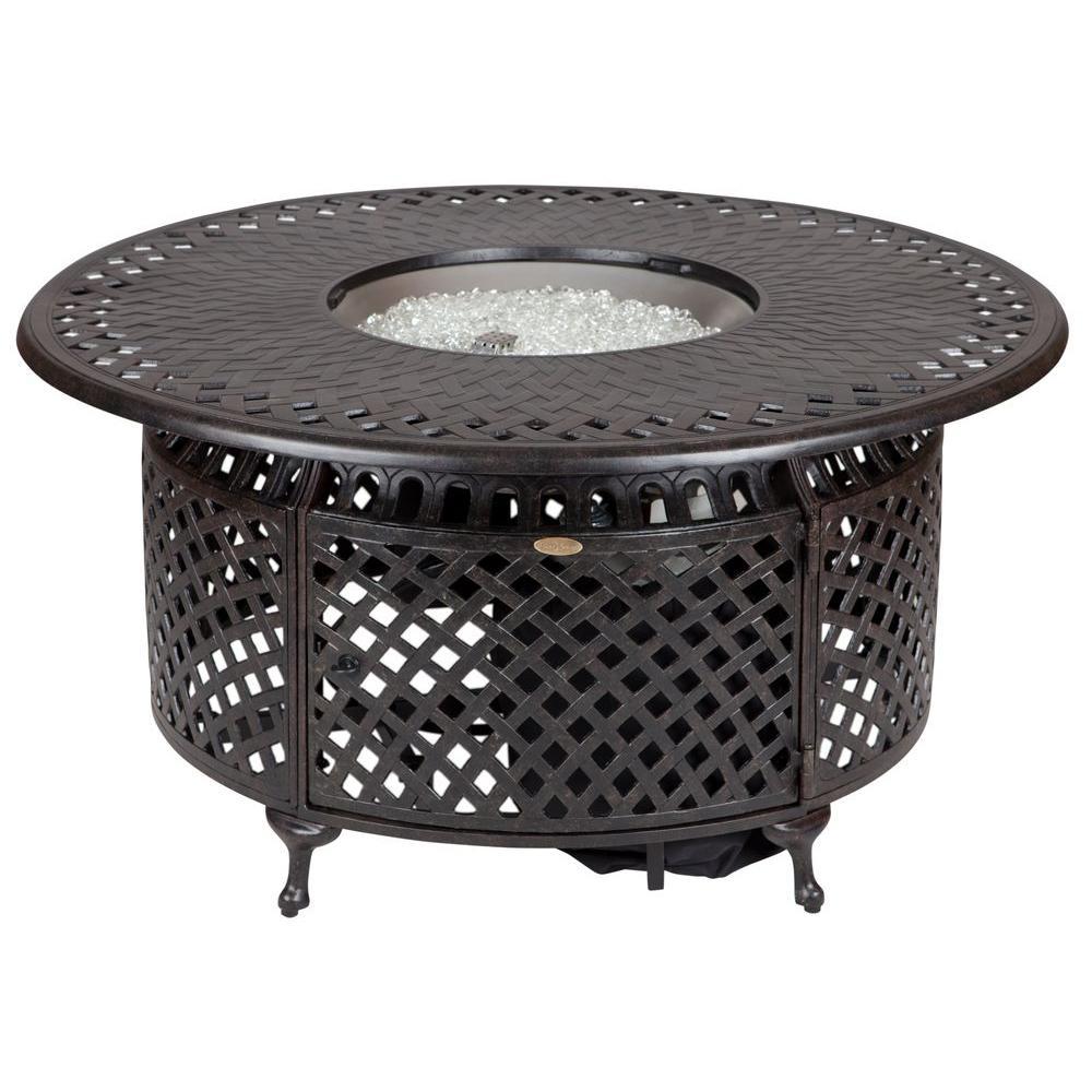 fire sense 48 in x 24 in venza cast aluminum round lpg fire pit 62082 the home depot. Black Bedroom Furniture Sets. Home Design Ideas