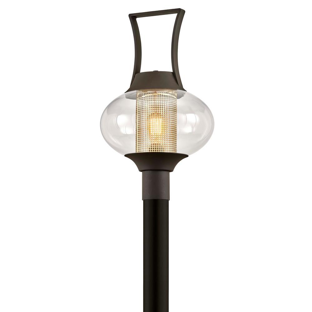 Horton 1-Light Texture Bronze Outdoor 4x4 Deck Post Light with Clear Glass Shade