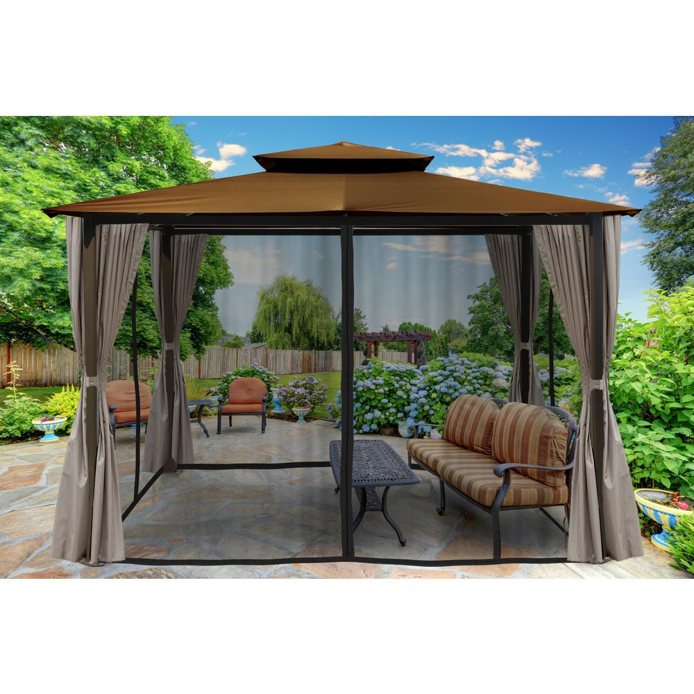 Gazebo With Cocoa Top And Privacy Curtains