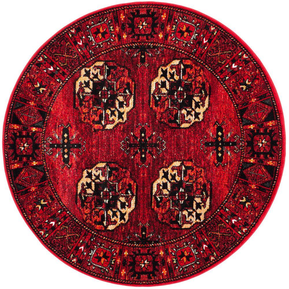 safavieh vintage hamadan red multi 7 ft x 7 ft round area rug vth212a 7r the home depot. Black Bedroom Furniture Sets. Home Design Ideas