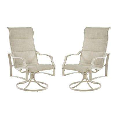Statesville Shell Swivel Aluminum Sling Outdoor Lounge Chair (2-Pack)