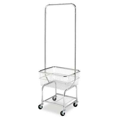 Metal Wire 4-Wheeled Laundry Basket/Garment Hanger in Chrome