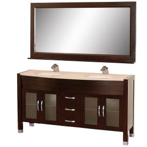 Wyndham Collection Daytona 63 inch Vanity in Espresso with Double Basin Marble Vanity Top in Ivory and Mirror by Wyndham Collection