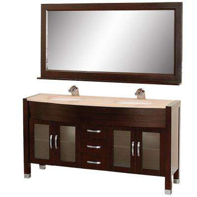 Daytona 63 in. Vanity in Espresso with Double Basin Marble Vanity Top in Ivory and Mirror
