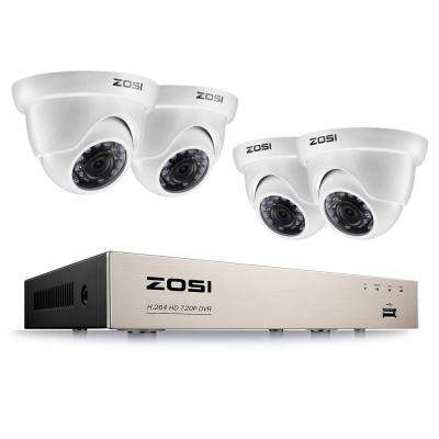 8-Channel 1080p DVR Security Camera System with 4-Wired Dome Cameras