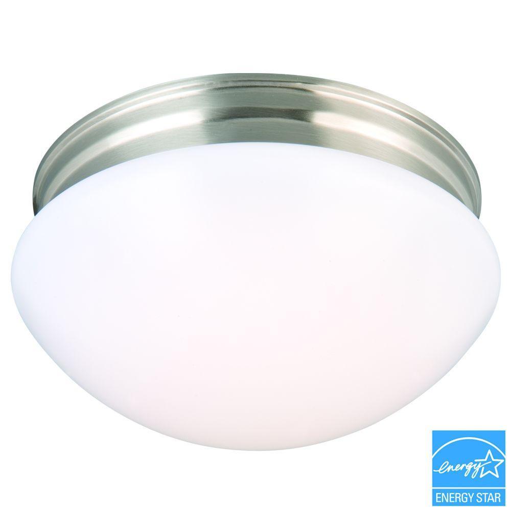 9 in. 60-Watt Equivalent Brushed Nickel Integrated LED Mushroom Flushmount with White Acrylic Shade
