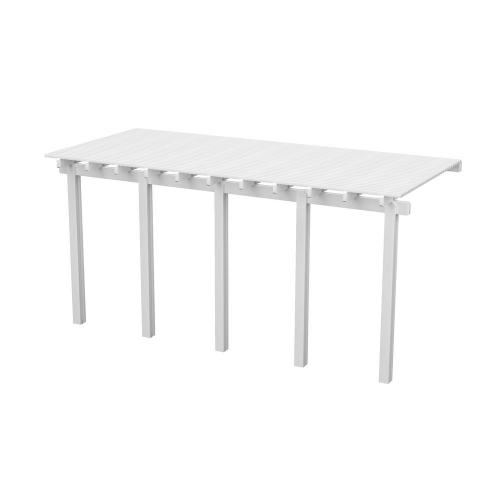 20 ft. x 12 ft. White Aluminum Attached Open Lattice Pergola