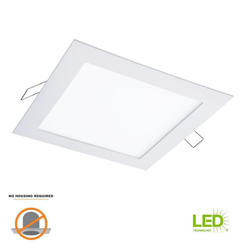 SMD-DM 6 in. 3000K Lens White Square Integrated LED Surface Mount Recessed Remodel Trim Kit