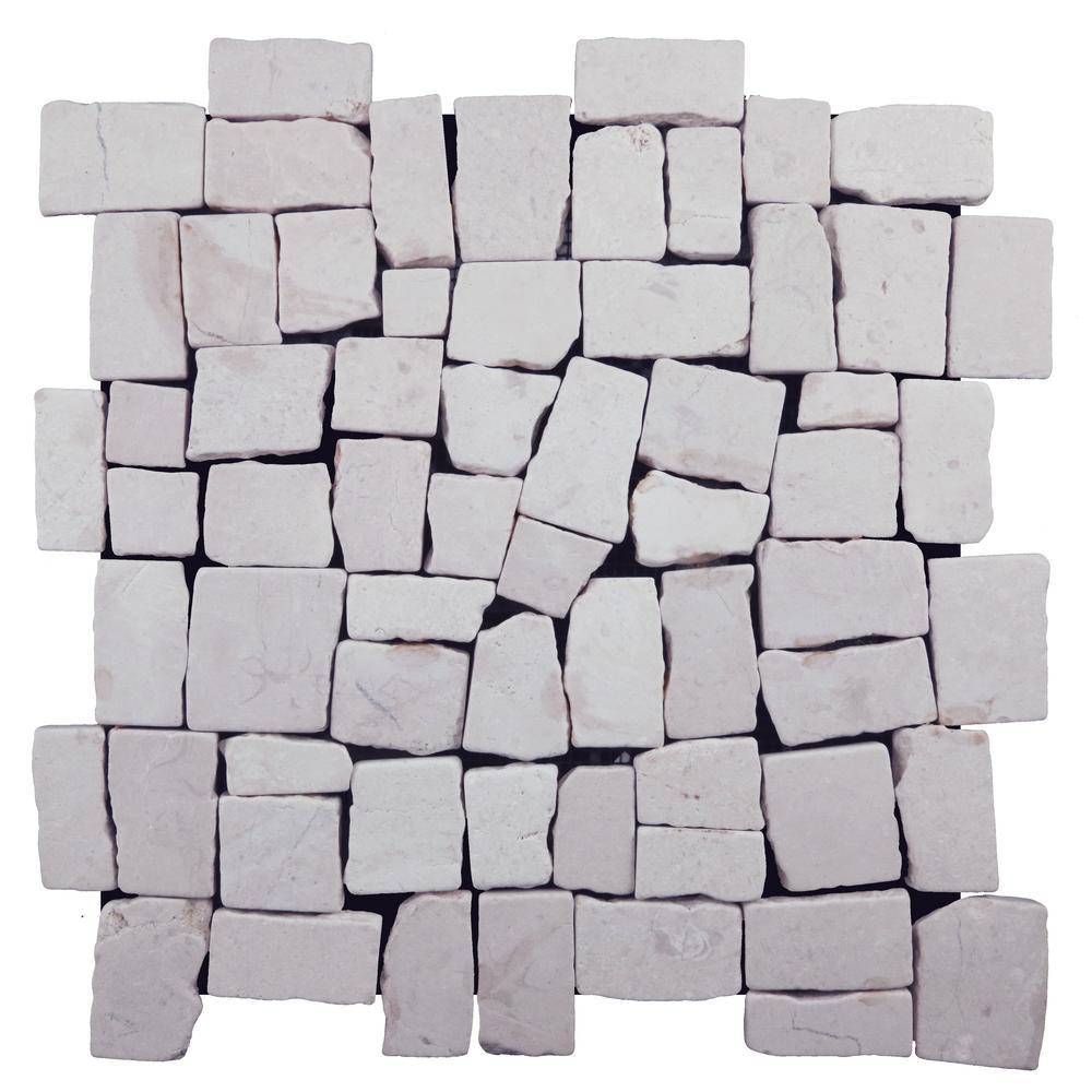 Block Mosiac Tile White 11-3/4 in. x 11-3/4 in. x 9.5 mm Mesh-Mounted Mosaic Tile (10.659 sq. ft. / case)
