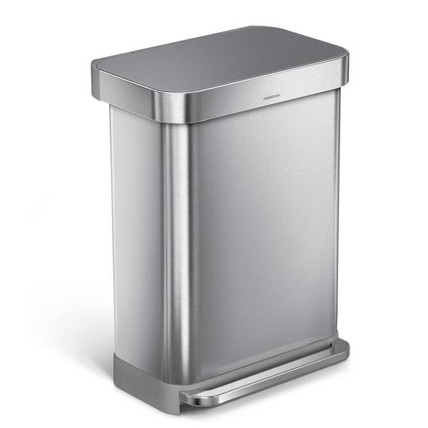 55 l Liner Rim Rectangular Step Trash Can, Brushed Stainless Steel with Grey Plastic Lid