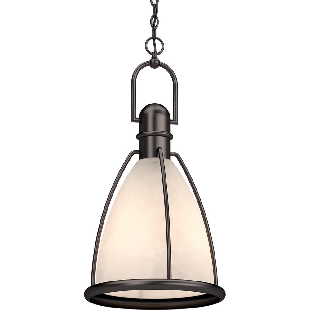 Volume Lighting 1-Light Indoor Antique Bronze Lantern Hanging Pendant with Caged White Glass Shade