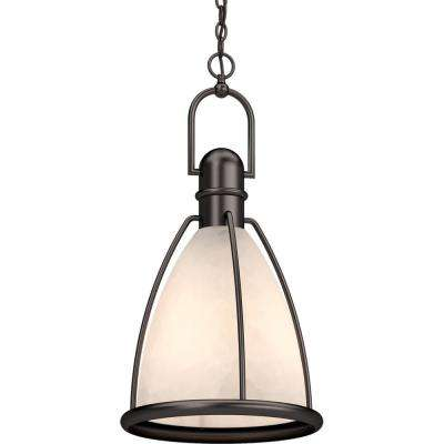 1-Light Indoor Antique Bronze Lantern Hanging Pendant with Caged White Glass Shade