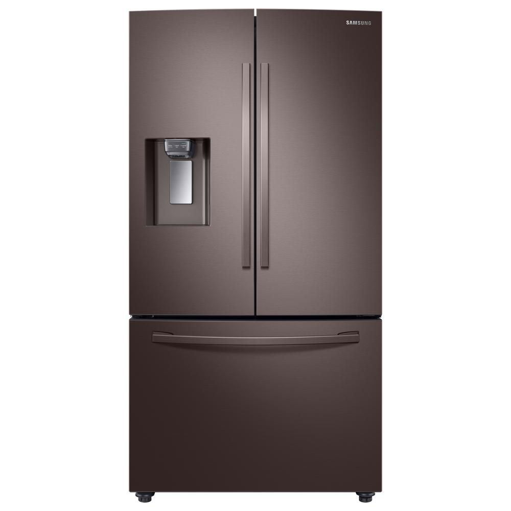 Samsung 23 cu. ft. 3-Door French Door Refrigerator in Tuscan Stainless Steel with CoolSelect Pantry, Counter Depth