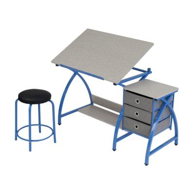 Comet 50 in. W x 23.75 in. D x 29.5 in. H Blue MDF Craft Table with Adjustable Top 3-Pull-Out Drawers and Stool