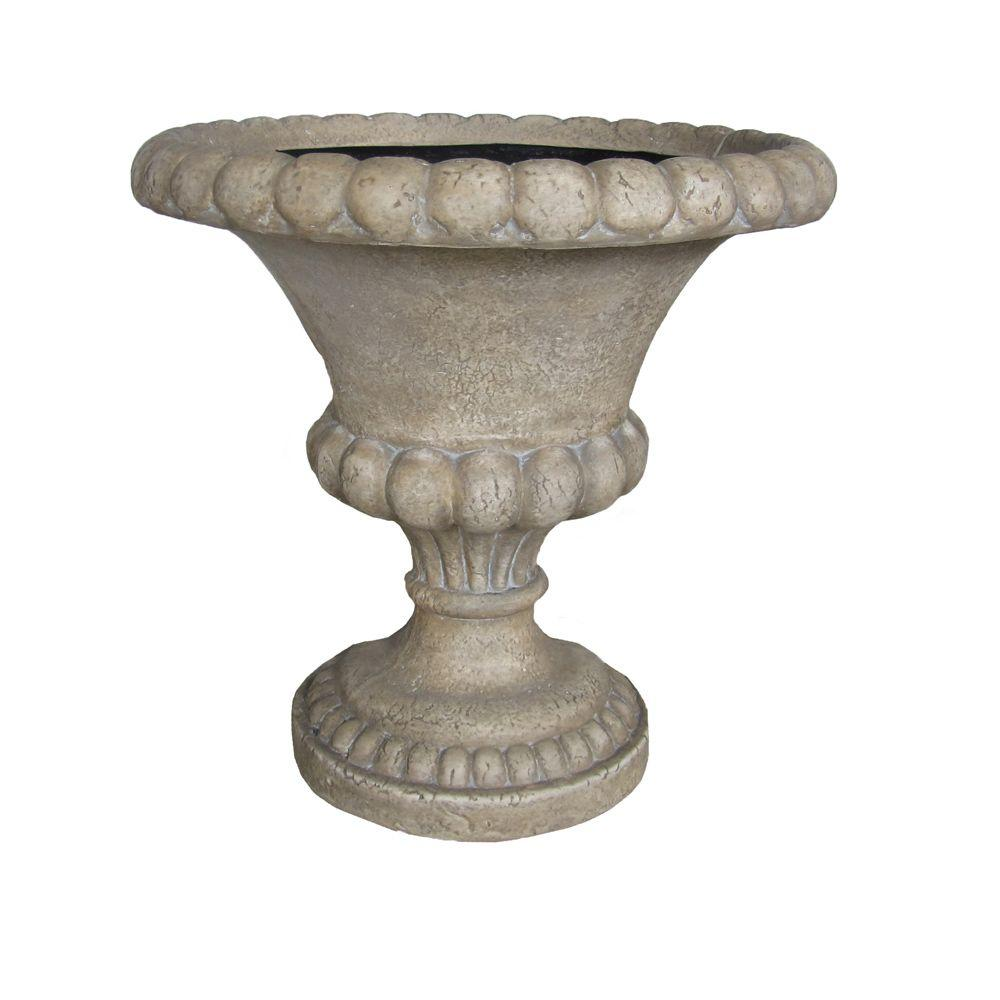 18.25 in. H Travertine Cast Stone Bulbous Urn