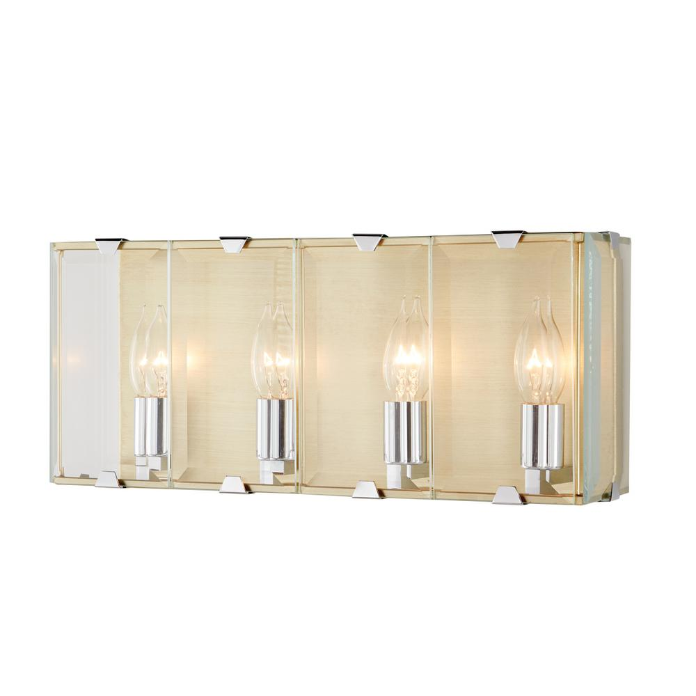 Brenton 4 light champagne silver sconce with beveled glass panels