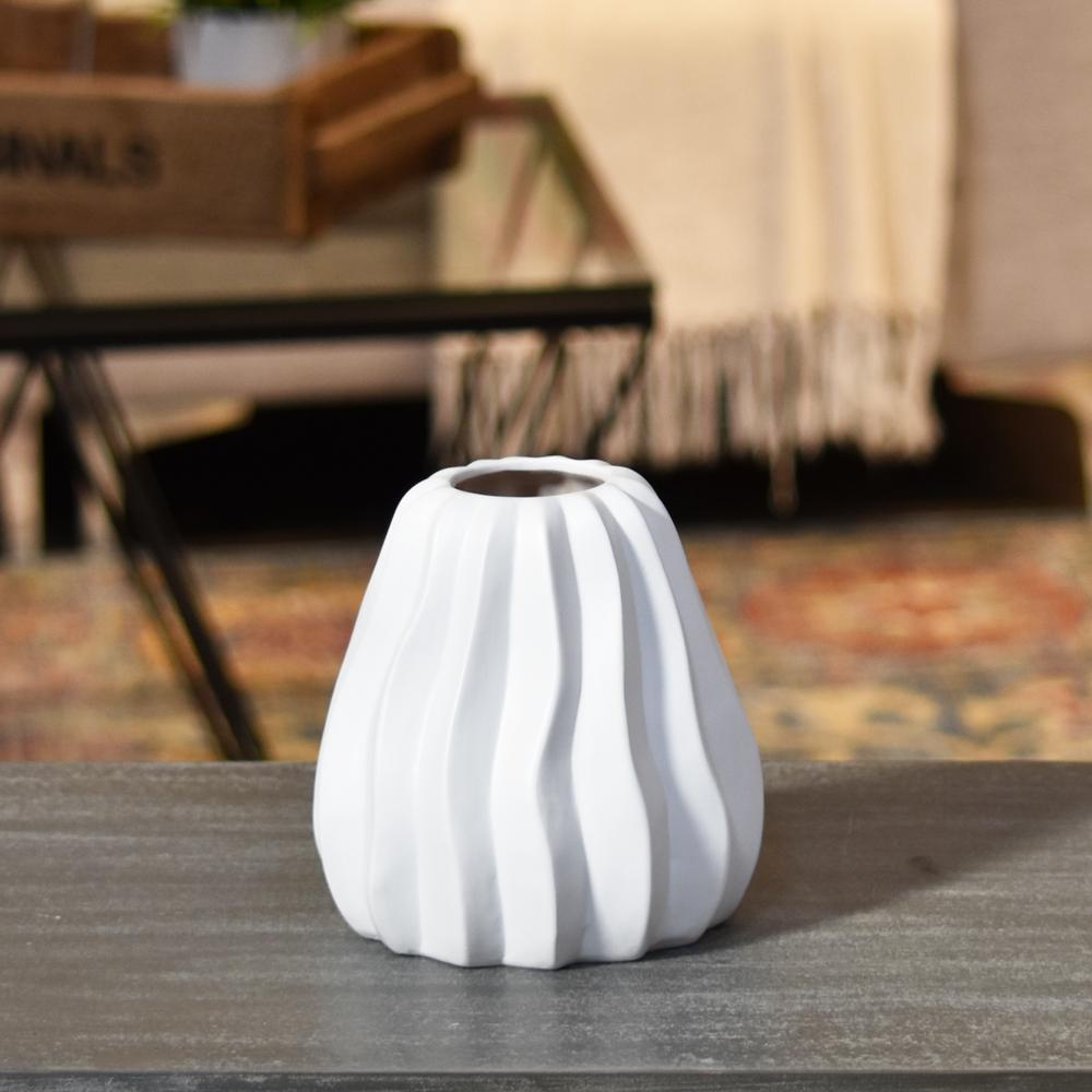 White Matte Ceramic Decorative Vase