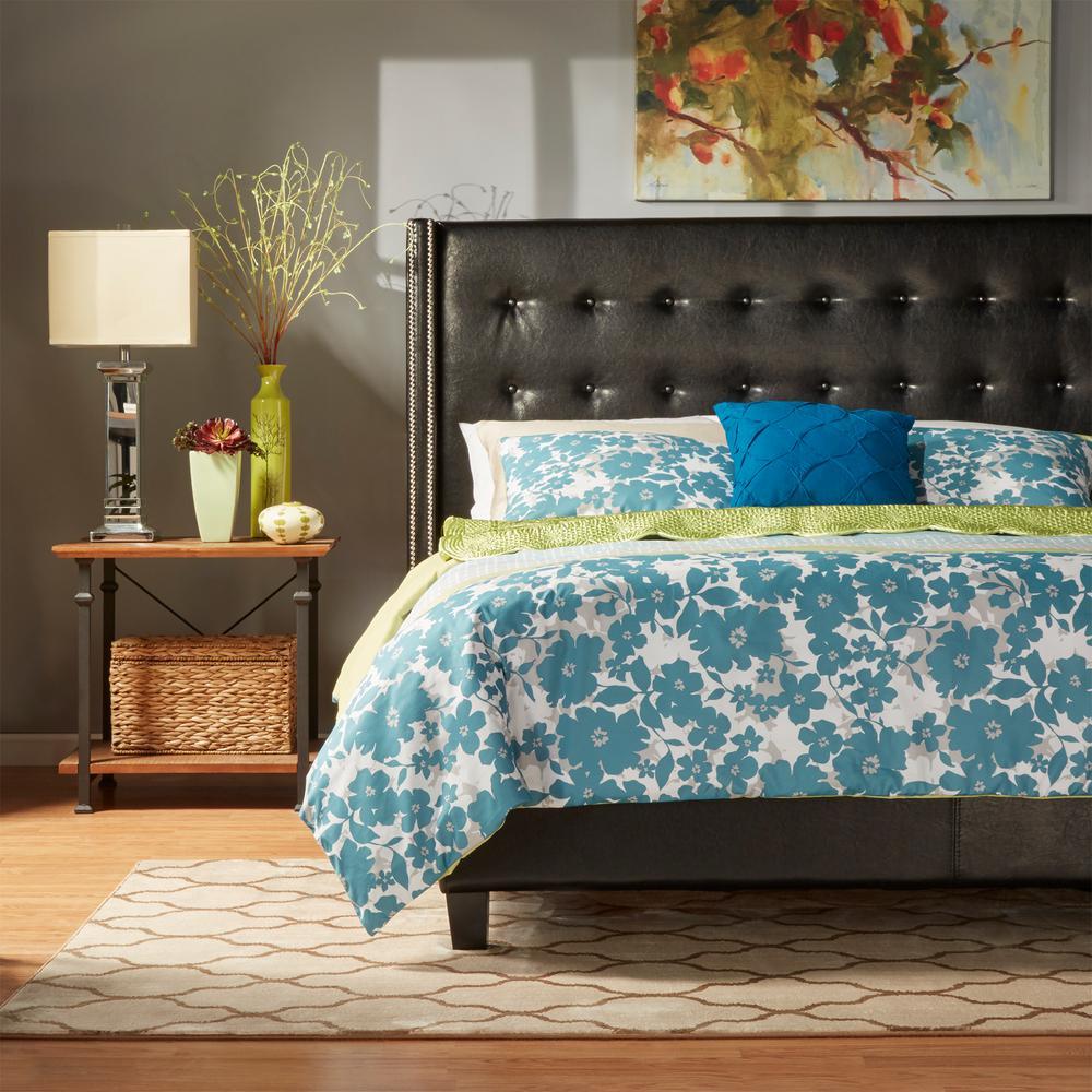 HomeSullivan Franklin Park Bonded Leather Queen-Size Platform Bed in Black