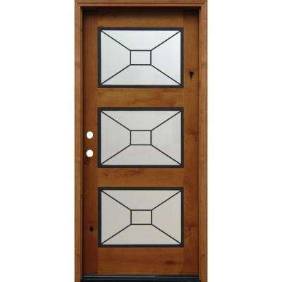 36 in. x 80 in. Contemporary 3 Lite Mistlite Stained Knotty Alder Wood Prehung Front Door with Grille