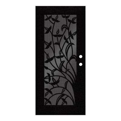 36 in. x 80 in. Yale Black Left-Hand Surface Mount Security Door with Black Perforated Metal Screen