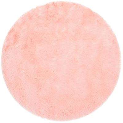 Faux Sheep Skin Pink 3 ft. x 3 ft. Round Area Rug