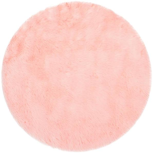 Faux Sheep Skin Pink 4 ft. x 4 ft. Round Area Rug