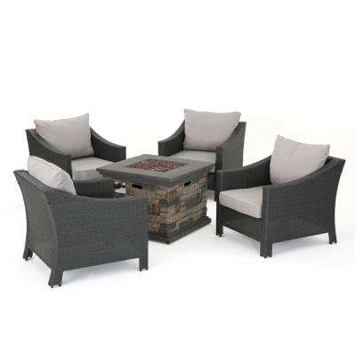 Natasha Stone 5-Piece Wicker Patio Fire Pit Conversation Set with Silver Cushions