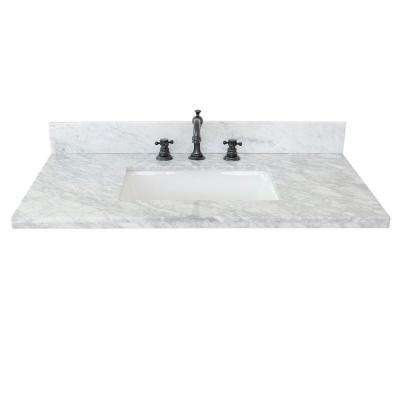 Ragusa II 37 in. W x 22 in. D Marble Single Basin Vanity Top in White with White Rectangle Basin