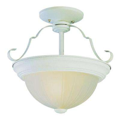 Cabernet Collection 2-Light Antique White Semi-Flush Mount Light with White Frosted Melon Shade