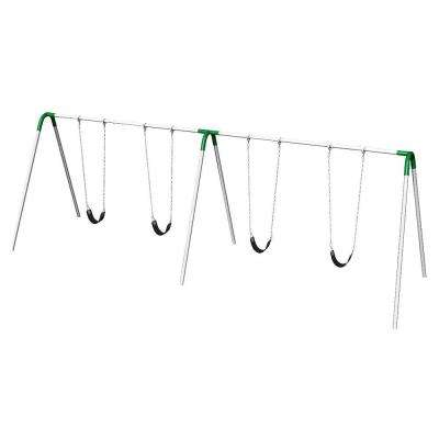 Playground Double Bay Commercial Bipod Swing Set with Strap Seats and Green Yokes