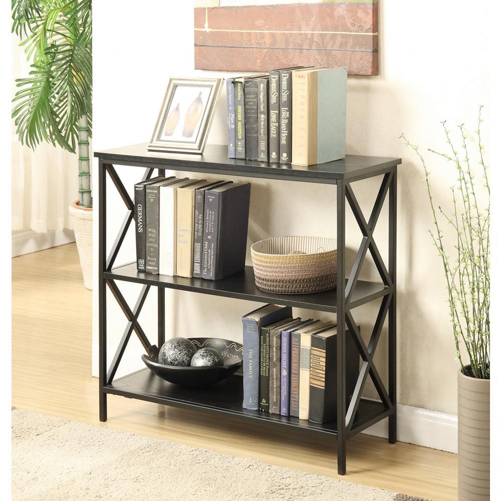 Tucson Black 3-Tier Bookcase