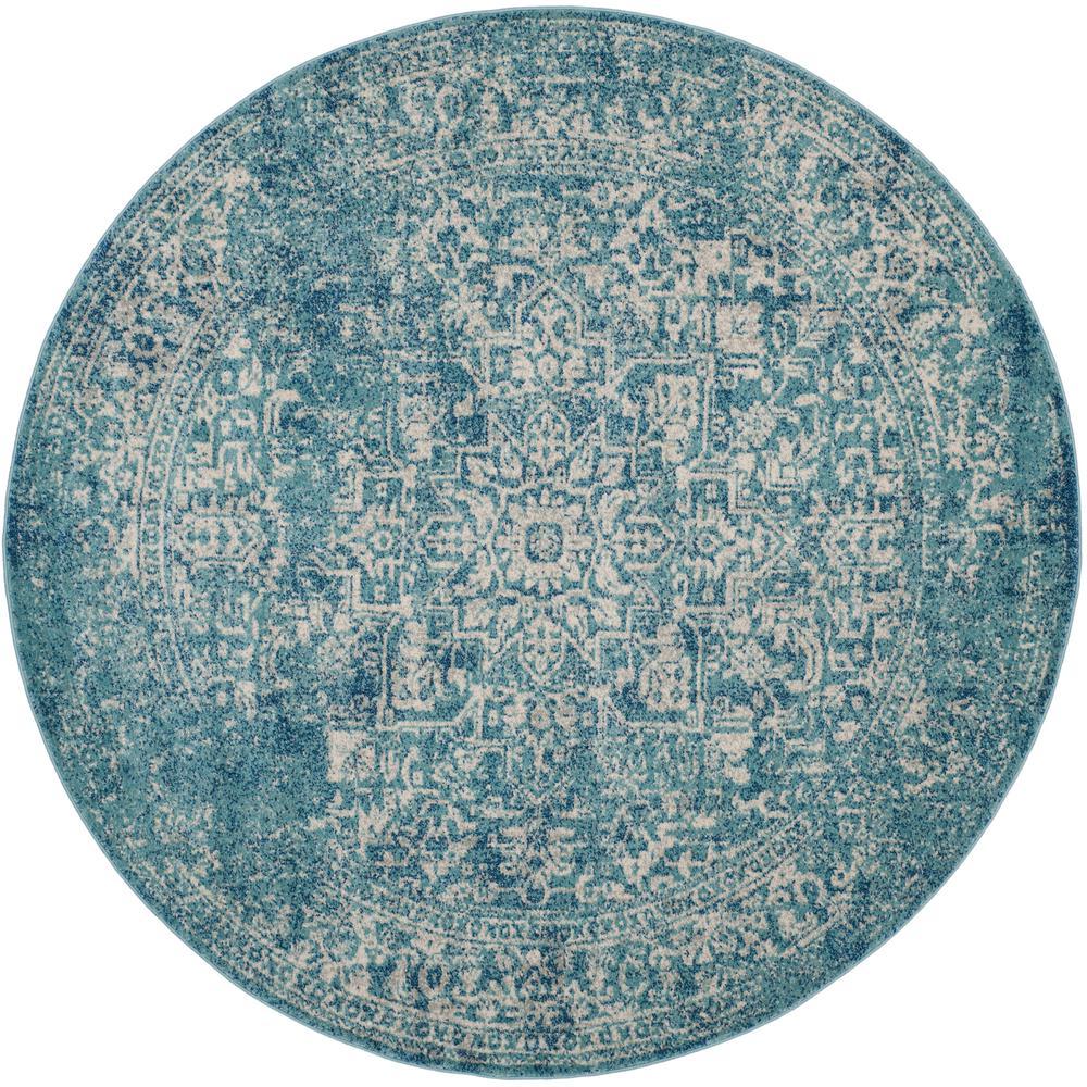 Evoke Blue/Ivory 9 ft. x 9 ft. Round Area Rug