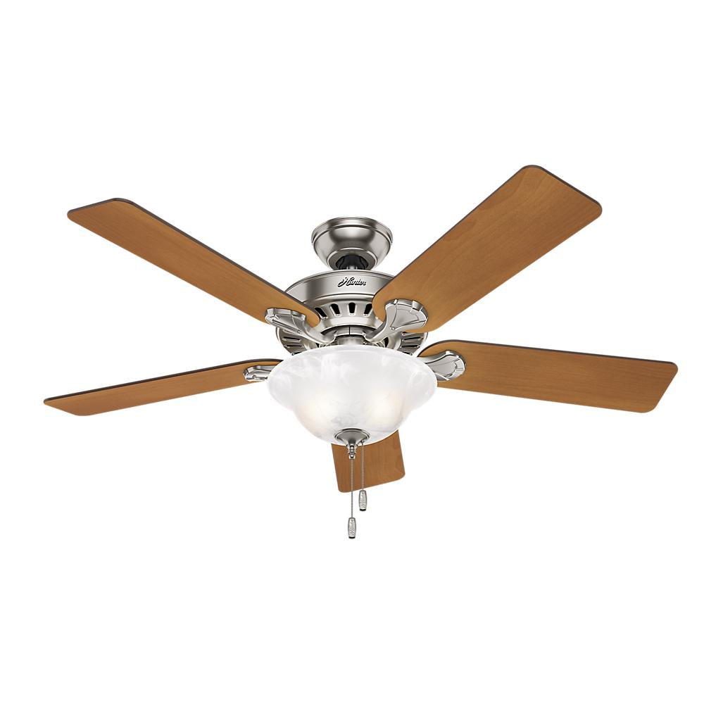 Hunter Buchanan 52 In Indoor Brushed Nickel Ceiling Fan With Light Kit 53042 The Home Depot