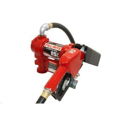 Fill-Rite 12-Volt 15 GPM 1/4 HP Fuel Transfer Pump with Standard Accessories (Automatic Nozzle)