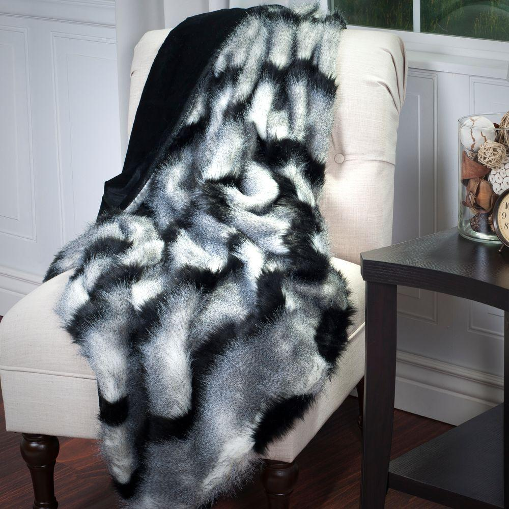 Black Luxury Long Haired Striped Faux Fur Throw