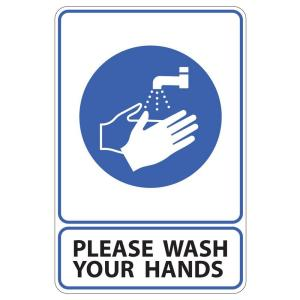 Rectangular Plastic Please Wash Your Hands Sign by