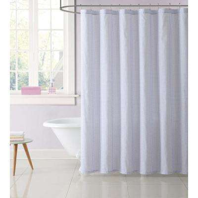 Gingham 72 in. Purple Shower Curtain