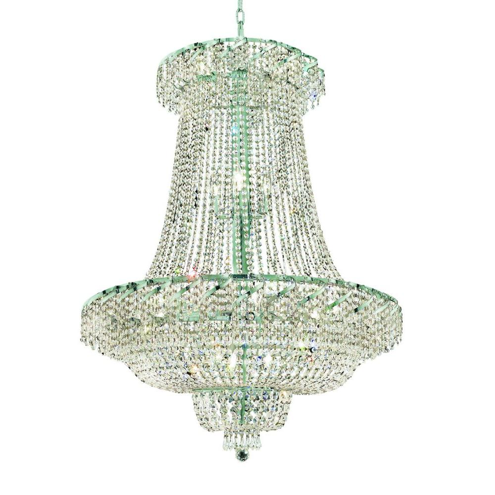 Elegant Lighting 22-Light Chrome Chandelier with Clear Crystal