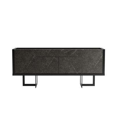 Celine 70.86 in. Black and Black Marble Buffet Stand