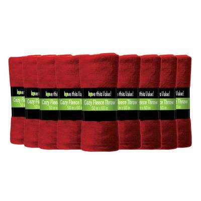 50 in. x 60 in. Red Super Soft Fleece Throw Blanket (12-Pack)