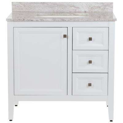 Darcy 37 in. W x 22 in. D Bath Vanity in White with Stone Effects Vanity Top in Winter Mist with White Sink